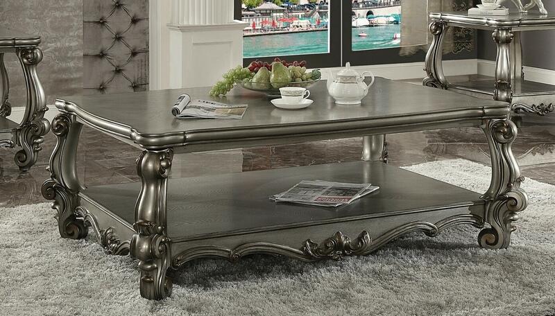 Acme 86820 Astoria grand timothy versailles antique platinum finish wood coffee table