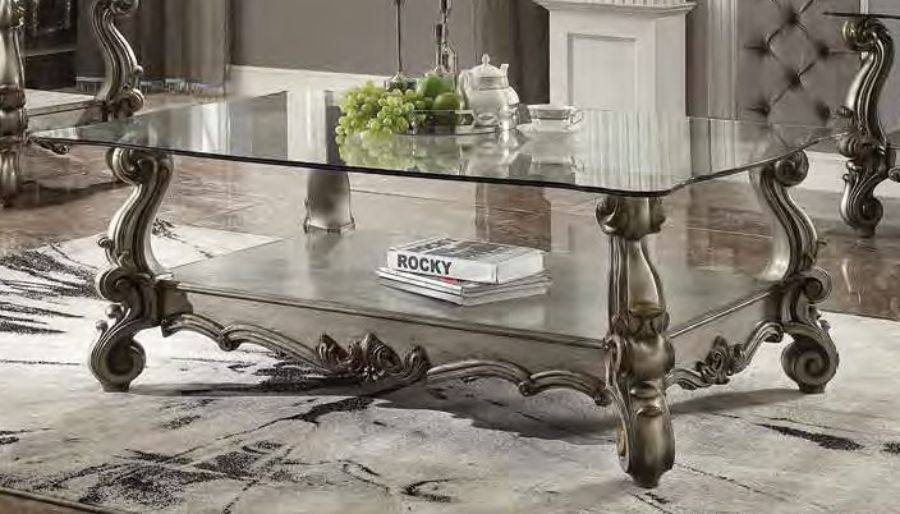 Acme 86840 Astoria grand welton versailles antique platinum finish wood carved accents glass top coffee table