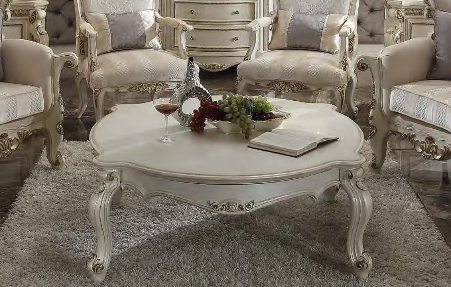 Acme 86880 Rosdork park severine picardy II antique pearl finish wood carved accents coffee table