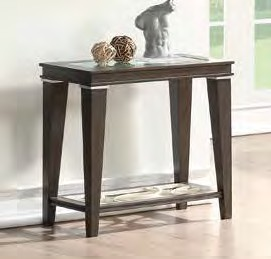 Acme 87993 One allium way candice peregrine walnut finish wood clear glass top end table