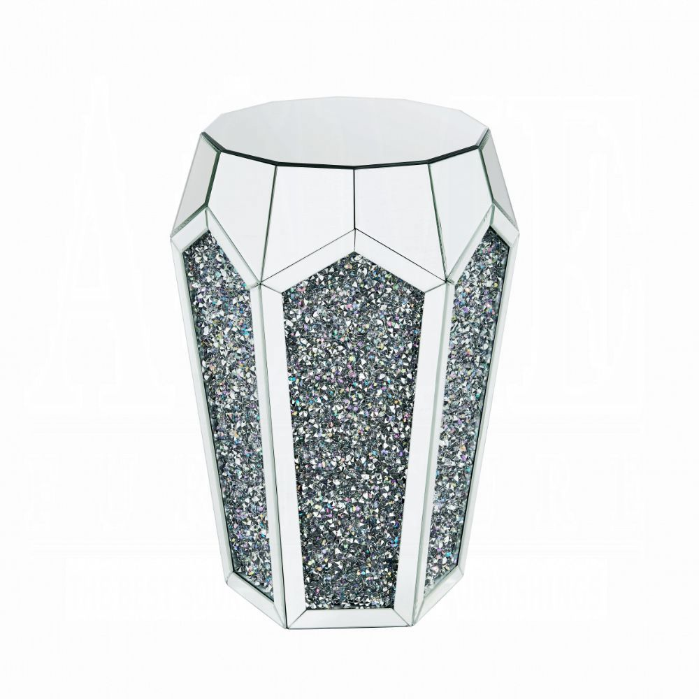 """Acme 88007 Noralie mirrored faux diamond 18"""" round glass top end table"""
