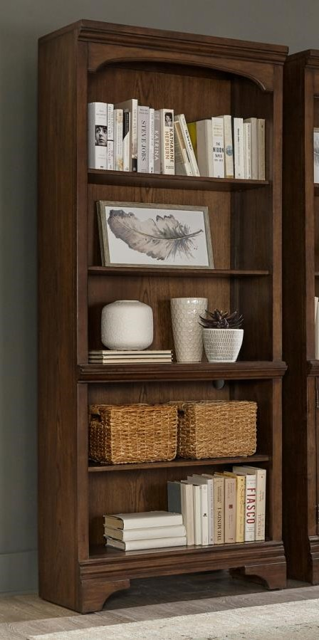 881285 Canora grey parthenia Hartshill burnished oak finish wood grand style bookcase for your home or office