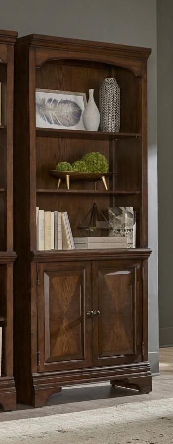 881286 Canora grey parthenia Hartshill burnished oak finish wood grand style bookcase with cabinet for your home or office