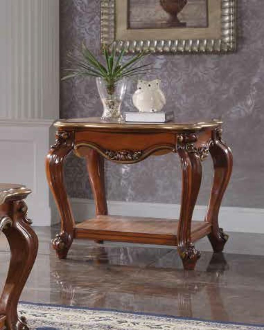 Acme 88222 Rosdorf park severine picardy II vintage cherry oak finish wood carved accents end table