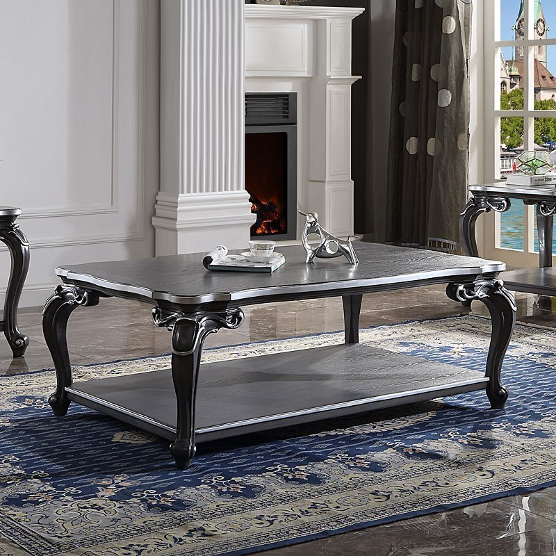 Acme 88835 Waldorf park delphine charcoal finish wood carved accents coffee table