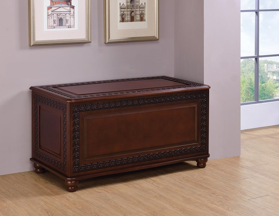 900012 Darby home co moran deep tobacco finish wood cedar lined storage trunk chest with carved accents