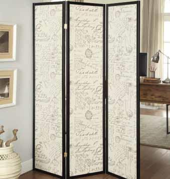 CST900074 3 panel espresso finish wood french script design center room divider shoji screen