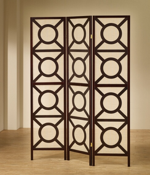 "CST900090 3 panel espresso finish wood frame room divider shoji screen with circles design.   measures 3 (18"" wide panels ) x 70"" h."