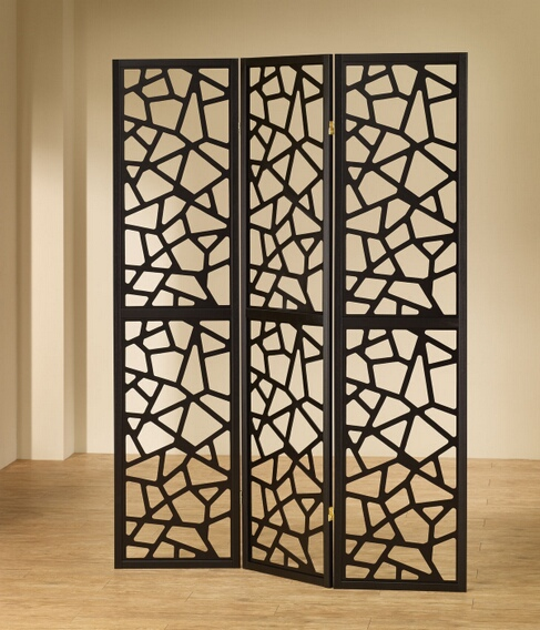 "CST900092 3 panel black finish wood frame room divider shoji screen with intricate cut geometric design.   Measures 3 (18"" wide panels ) x 70"" H."