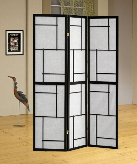 CST900102 Black wood frame geometric squares pattern 3 panel room divider screen