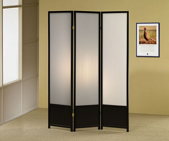 CST900120 3 panel black finish wood room divider shoji screen