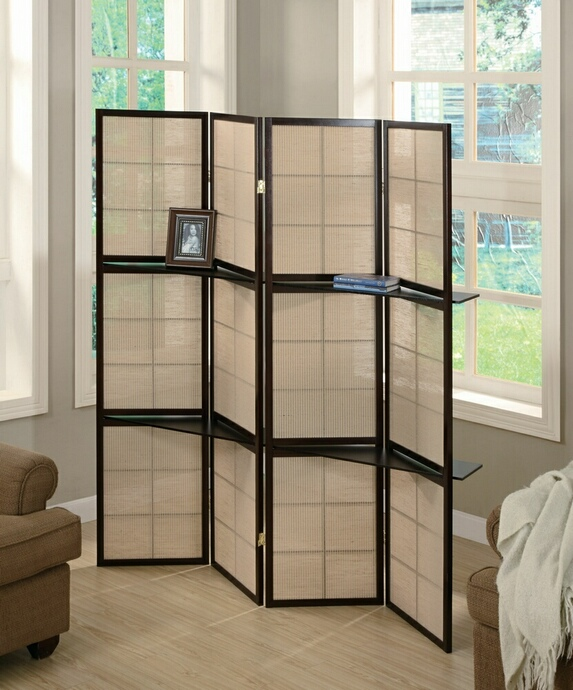 CST900166 4 panel espresso finish wood room divider shoji screen with center shelves