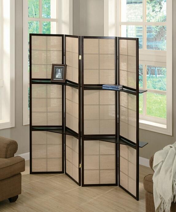 CST900166 4 panel espresso finish wood room divider shoji screen with center shelves