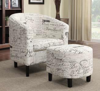CST900210 Off white french script patterned fabric upholstered barrel back arm chair and ottoman