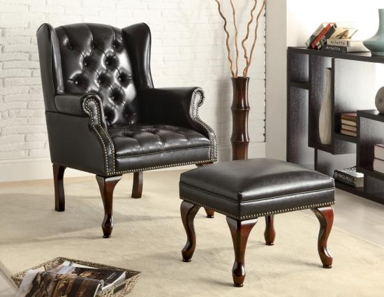 CST900262 Black bycast leather like vinyl wing back tufted chair and ottoman
