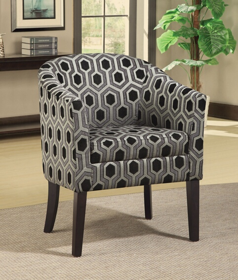 900435 Espresso finish wood frame barrel shaped accent side chair with sleek hexagon pattern upholstery
