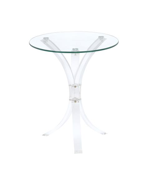 900490 Orren ellis savoy sky clear round glass top and acrylic legs side accent table