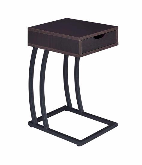 CST900578 Espresso finish wood top and gunmetal finish metal frame chair side slide under sofa table