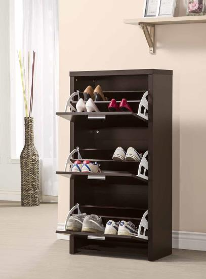 CST900604 Black finish wood three door shoe cabinet with room for 4 pairs in each drawer