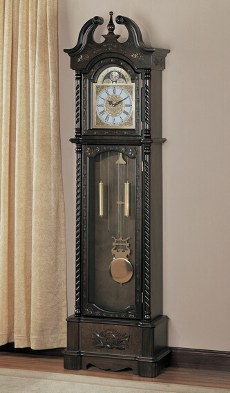 900721 Brown finish wood grandfather clock with decorative crown and twisted braid edges