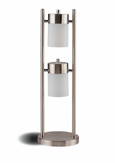 CST900732 Casual Style Chrome Finish Metal Swivel Table Lamp with Frosted Shades