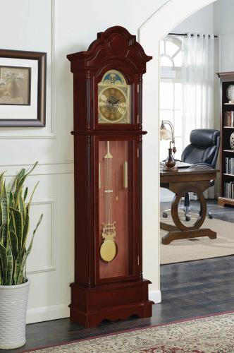 900749 Darby home co cherry finish wood grandfather clock with decorative crown top and column look sides