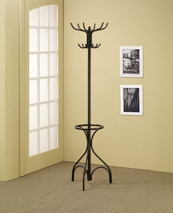 CST900821 Black metal finish coat rack with round umbrella holder ring on the bottom