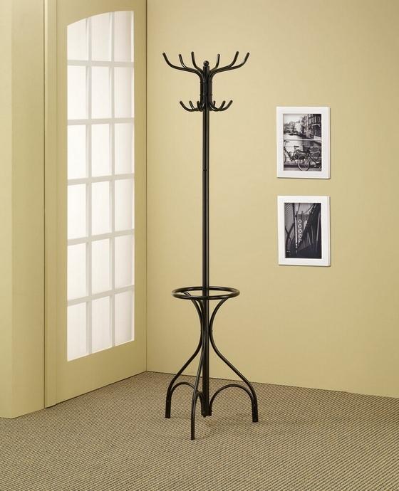 900821 Orren ellis black metal finish coat rack with round umbrella holder ring on the bottom