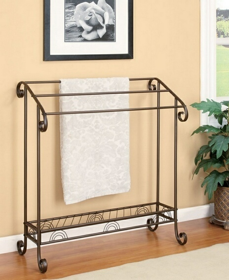 900833 Coffee red finish metal towel quilt rack