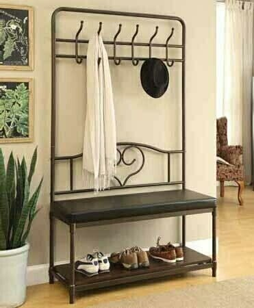 900932 Red barrel studio randolph industrial black mud room entry boot bench coat tree rack