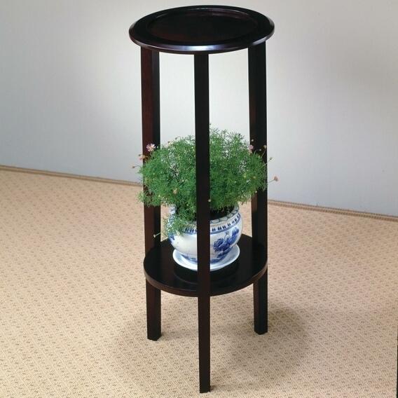 CST900936 Espresso finish wood round plant stand