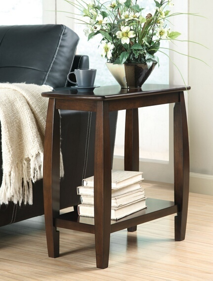 CST900994 Contemporary styling walnut finish wood frame chair side end table with lower shelf