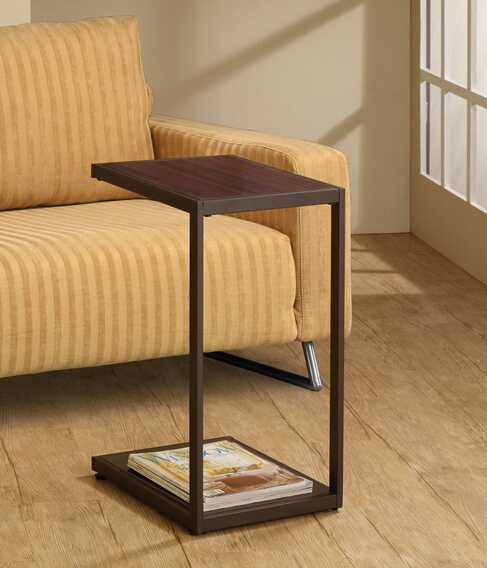 CST901007 Modern styling dark brown faux wood look top and dark brown finish frame chair side end table