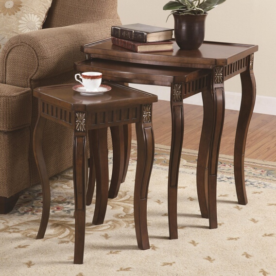 CST901076 3 pc cherry finish wood nesting table set