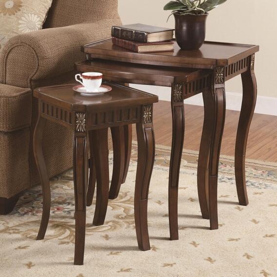901076 3 pc cherry finish wood nesting table set