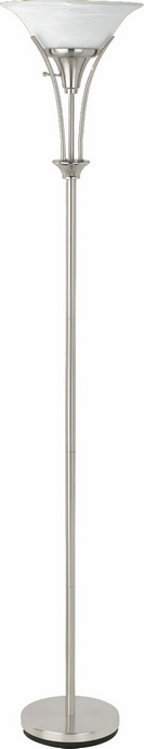 CST901193 Transitional Style Brushed Steel Finish Floor Lamp with Frosted Ribbed Glass Shade