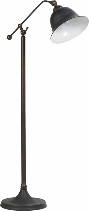 CST901231 Dark bronze metal transitional style floor lamp with bell shaped shade