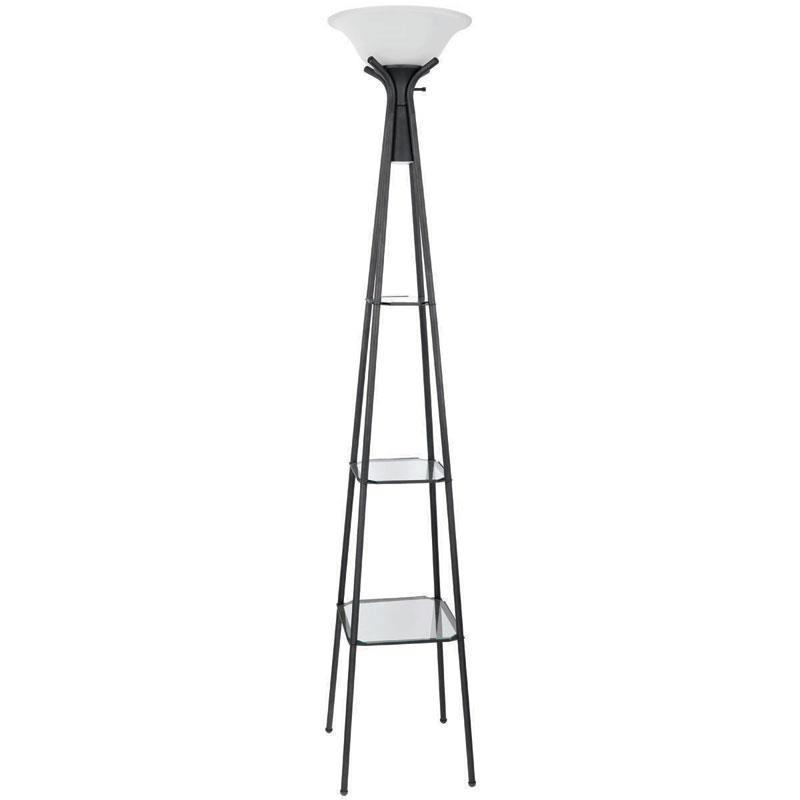 901420 Charcoal Black Finish Transitional Casual Style Floor Lamp With Gl Shelves