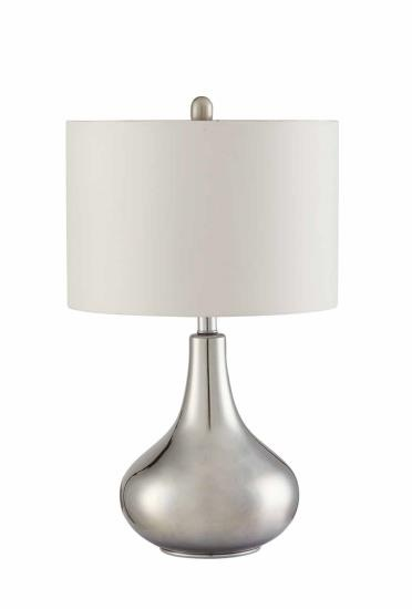 CST901525 Chrome metallic finish modern style base table lamp with organic round shade