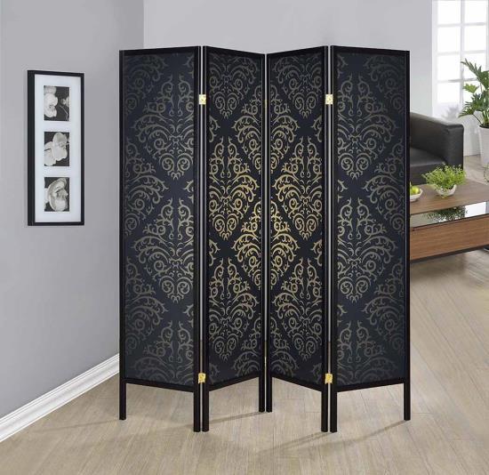 CST901632 4 panel black finish wood frame shoji screen room divider with damask pattern print