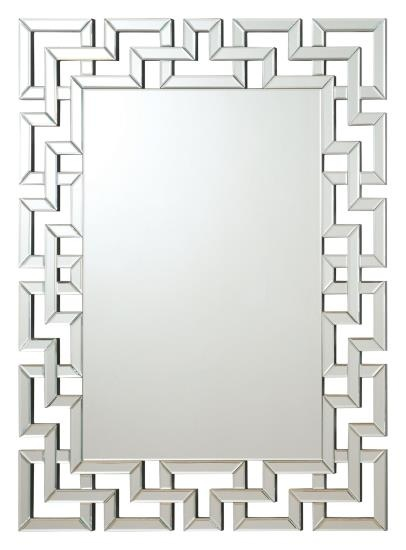 CST901786 Interlocking squares border rectangular frameless decorative wall mirror