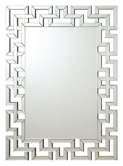 CST901786 Interlocking squares border rectangular frameless decorative wall mirror