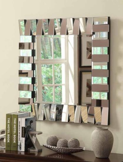CST901806 Zig zag Multi level rectangles design square frameless decorative wall mirror