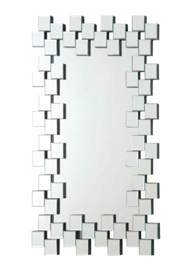 CST901838 Multi squares outer edge framed rectangular design frameless decorative wall mirror