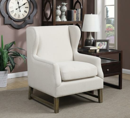 CST902490 Grand wing back collection oatmeal colored linen like fabric upholstered chair
