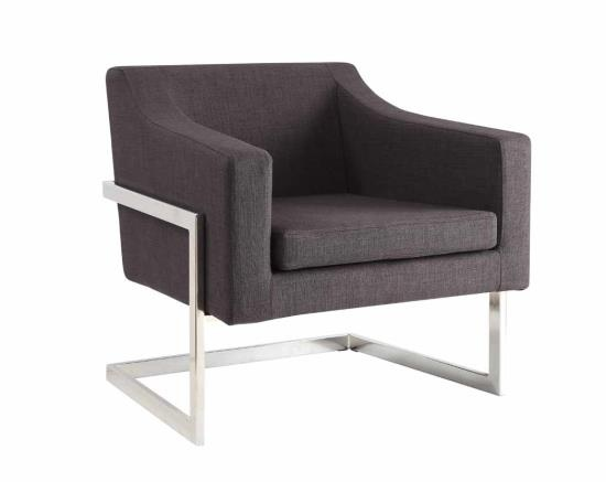 CST902530 Grey linen like fabric upholstered and chrome metal finish frame retro style squared back chair