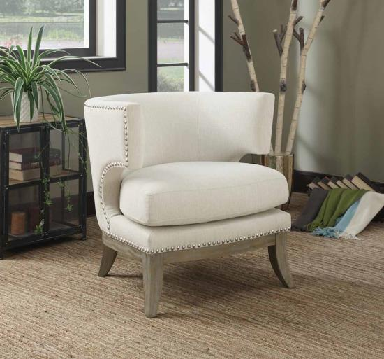 CST902559 Cloister collection white chenille fabric upholstered barreled back accent chair with wood legs