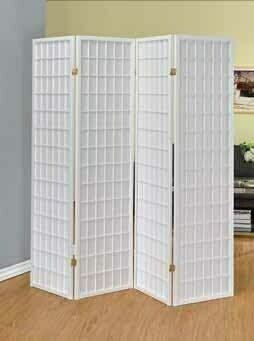 902626 Charlton home plainview 4 panel white finish wood room divider shoji screen