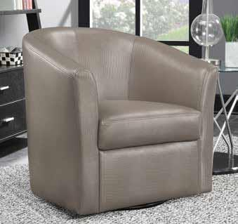 CST902726 Champagne leather like vinyl upholstered barrel shaped accent side chair with swivel base