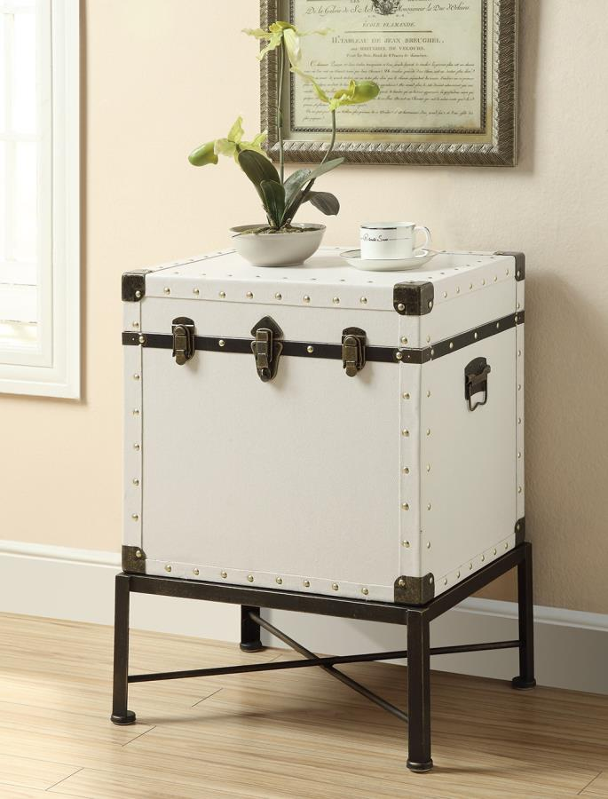 902819 17 stories gala white with black accents finish trunk style chair side accent table with metal base